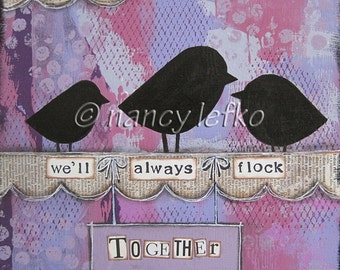 flock together - 8 x 8 ORIGINAL COLLAGE by Nancy Lefko