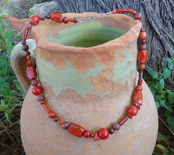 SALE, Red Jasper Potpourri Necklace