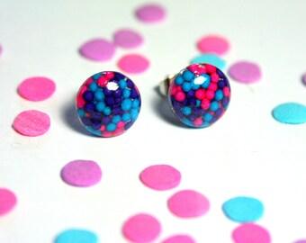 Blue Sprinkles Earrings, Purple Pink Resin Studs, Kawaii Candy Earrings