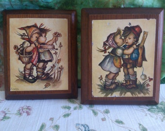2 Hummel Type Plaques on Wood by Evens