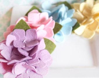 Wool Felt Flower Hydrangea in Pastels Set of Four
