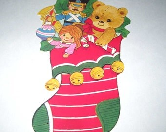 Vintage Eureka Christmas Die Cut Christmas Stocking with Toys