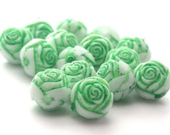 Vintage Plastic Rose Flower Beads White Green Inlay 9mm (12) VPB093