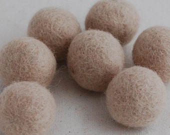 2.5cm Felt Balls - Light Latte - Choose either 20 or 100 felt balls