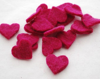 100% Wool Felt Heart Die Cut - 28mm - 100 Count - Azalea / Raspberry Rose Pink