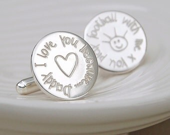 Personalised 'Love you Because' Silver Cufflinks  - Father's Day Cufflinks - Personalised Father's Day Gift - Sterling Silver Dad Cufflinks