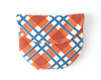 catholic gift boy. plaid rosary pouch case for rosary. orange navy first communion baptism confirmation sponsor gift. ear bud pouch