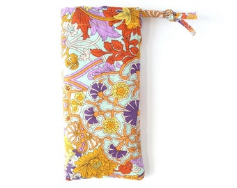 sunglasses case for women. cute floral fabric glasses pouch. ladies padded eyeglass case. orange blue