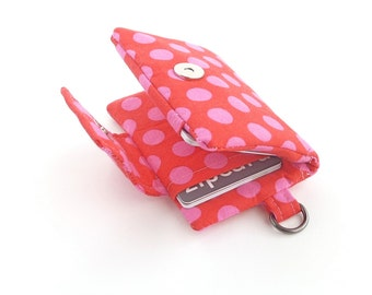 polka dot womens minimalist wallet. fabric credit card organizer. cloth material cotton teen girl gift. pink red business card case