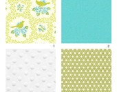Crib Bedding-3 piece-Garden District Green and Turquoise Bird---LIMITED!!