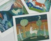 Card Set: Animal Magic, woodland, forest, whimsical, folk art