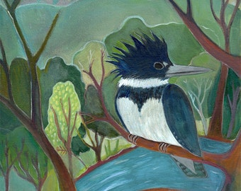 Fine Art Print, Kingfisher's Perch, bird, bird watching, nature