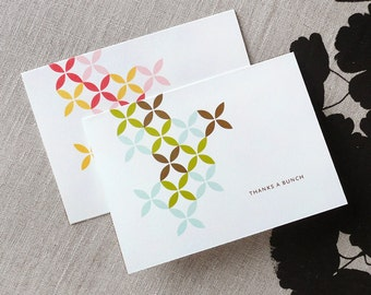 Thanks a Bunch Flower Note Cards, flowers, personalized stationery, modern design, retro, CUSTOM colors, DIGITAL FILE