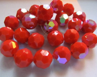 Vintage Glass Beads (4)(11mm) Stunning Dark Coral & Gold Luster Faceted Beads