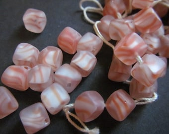 Vintage Glass Beads (10) Frosted Peach Tiger Beads