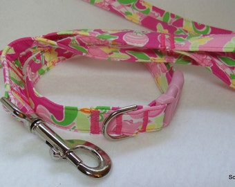 Handcrafted Lilly Pulitzer Slathouse Rock Fabric Dog Collar & Leash Set