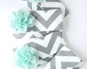 Mint and Gray Bridesmaid Clutch Set, Chevron Wedding Bag, Your Choice of Colors