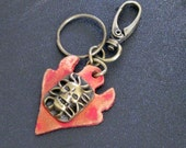 Rugged Leather brass accent Keychains