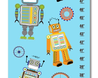 Children's Growth Chart / Ruler / Measure/ Wall Art- Robots and Gears -  May be Personalized