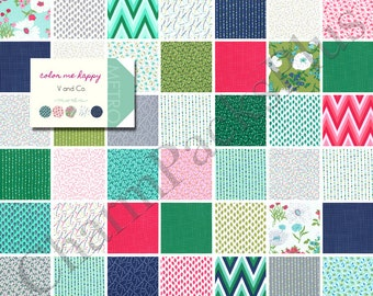 COLOR ME HAPPY - Moda Fabric Charm Pack - Five Inch Quilt Squares Quilting Material Blocks