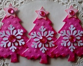 Christmas Tree Embellishments-Set Of 3-Pink