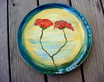 Tuscan poppy plate rustic pottery dinner plates Made to order 11 inch plate kiln fired