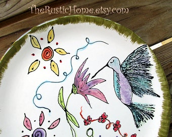 Hummingbird garden dinner plates kiln fired pottery tableware birds flowers woodland custom pottery dinnerware rustic home birds flowers