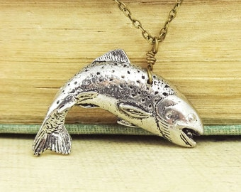 Trout Necklace Pendant. Antiqued Pewter and Antiqued Bronze Chain Necklace Pendant.