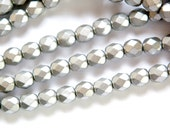Czech Matte Silver Faceted Glass Beads 6mm (30) czh016H