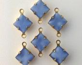 Light Blue Moonstone Square Glass Stones in 2 Loop Brass Setting 8mm (6) squ002AC2