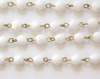 White Faceted Czech Glass Bead 6mm Chain Raw Brass Links chn145