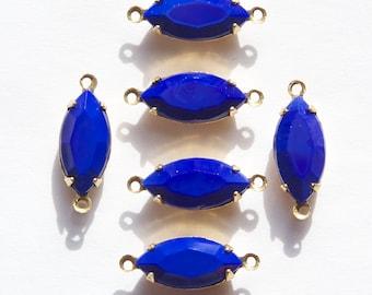 Vintage Opaque Glass Navettes 2 Loop Brass Setting nav001MM2