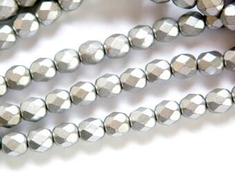 Czech Matte Silver Faceted Glass Beads 6mm (30) czh016H