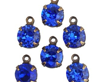 Vintage Sapphire Faceted Glass Stone 1 Loop Brass Ox Setting Drops 7mm (6) rnd007MM