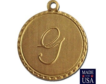 Raw Brass Letter G Initial Charm Drop with Loop (1) chr190G