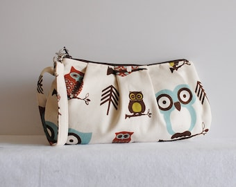Pleated Wristlet Zipper Pouch - Cute Owl