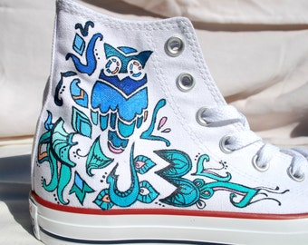 Blue Owl Hand Painted Shoes