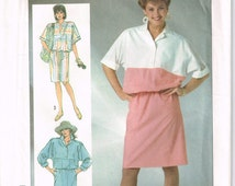 Vintage Simplicity 1980s Misses' Pullover Dress Pattern 7318 (Cut and Complete) Sizes:6-8-10
