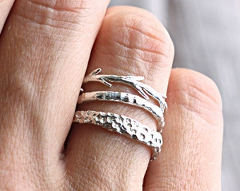 Sterling Silver Coral Twig Set | Stacking Rings | Nature Inspired Rings
