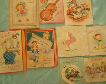 Birthday Cards/ Vintage/ Set of 9    (used)