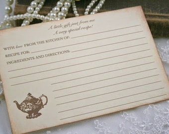 Tea Party Recipe Cards Vintage Style Teapot Set of 10