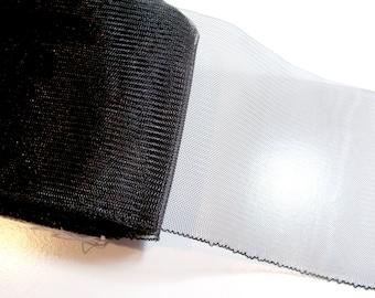 Black Ribbon, Black Horsehair Crinoline Netting 5 inches wide x 1 yard, Black Netting