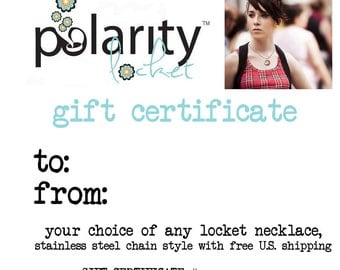 GIFT CERTIFICATE for any Magnetic Polarity Locket with U.S. Shipping, Teen Girl Gift, Ready to Ship, Instant Download, Daughter, Niece