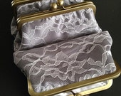 Personalized - Ivory Lace over Silver Satin Clutch