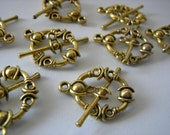 Toggle Clasps Antique Goldplated-Qty 8-Jewelry Making Supplies-Bracelet Clasps-Necklace Clasps