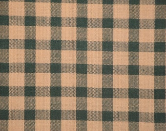Homespun Fabric | Green Check Fabric | Cotton Fabric | Craft Fabric | Home Decor Fabric | Quilt Fabric | Fabric Sold By The Yard