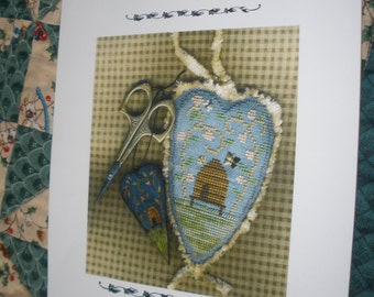 Cross Stitch Pattern,Bee Happy Heart by Homespun Elegance