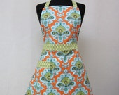 Womens Full Apron, Modern Retro Kitchen Aprons - Amy Butler French Wallpaper Orange Teal