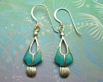 Vintage Sterling Silver Earrings - Turquoise - Style 10