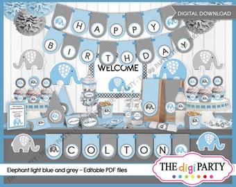 Baby Shower party printable, elephant light blue gray polka dot, elephant birthday invitation baby boy Party Package